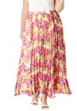 Jessica London Women's Plus Size Pleated Maxi Skirt - 18 W, Yellow Watercolor Floral