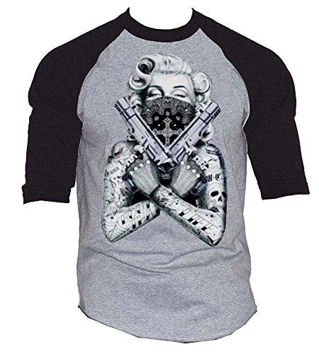 Marilyn Monroe Huge Guns Baseball T-Shirt Black-Gray S-3XL (XXL, Black-Gray)