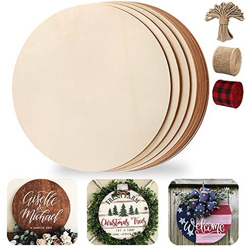 Wood Circles for Crafts, 12 Pack 12 Inch Unfinished Wood Rounds Wooden Cutouts for Crafts, Wood Slices for Painting, Door Hanger, Door Design, Holiday Decor