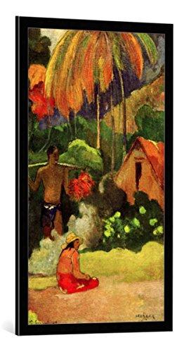kunst für alle Bild mit Bilder-Rahmen: Paul Gauguin Mahana maa II - dekorativer Kunstdruck, hochwertig gerahmt, 55x100 cm, Schwarz/Kante grau