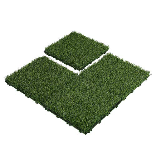 Floralsecret Kunstrasen-Fliesen, ineinandergreifende Drainage-Basis, synthetische Grasmatte, 3 x 3 m, 4 Stück, Frühlingsgras