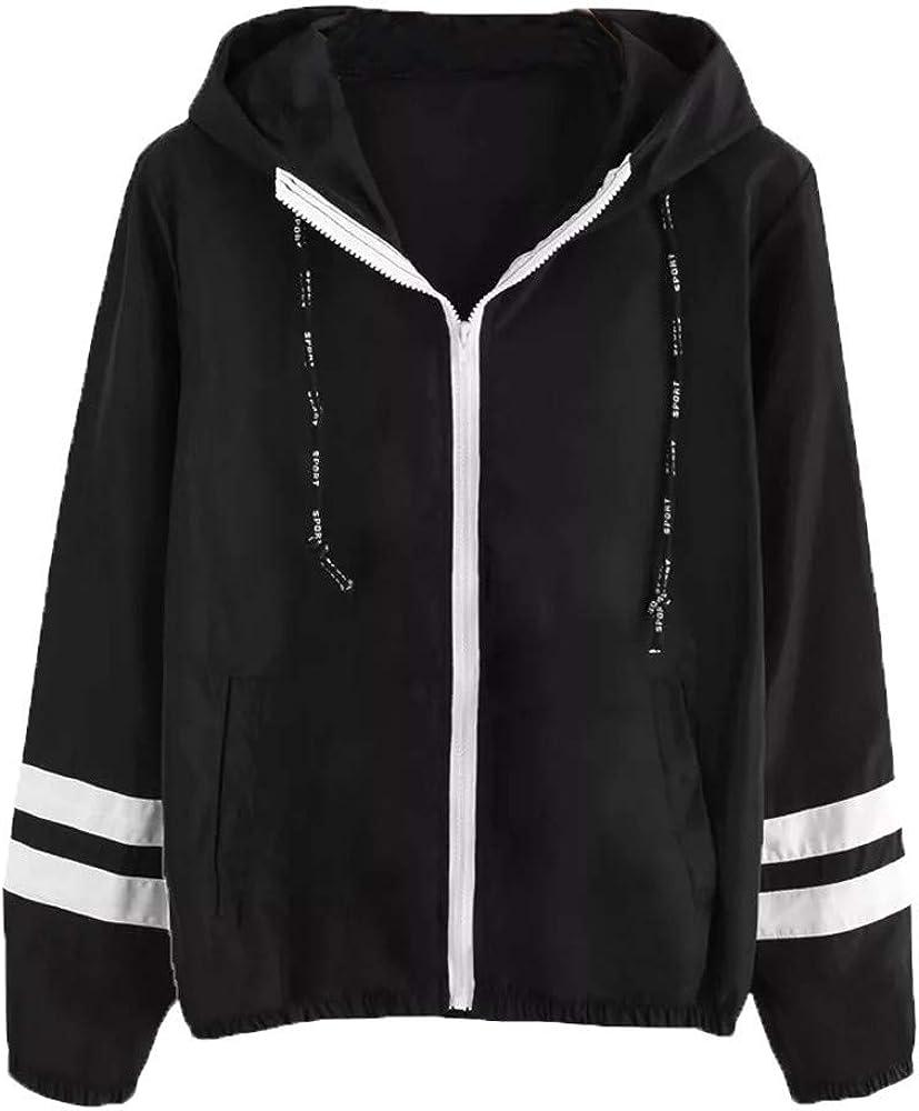 WUAI-Women Hoodie Spasm price Jackets Casual Zip Lightweight Stripe Max 66% OFF Printed