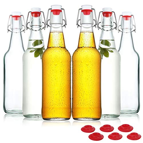 Yeboda Clear Glass Beer Bottles For Home Brewing With Easy Wire Swing Cap &Amp; Airtight Silicone Seal 16 Oz- Case Of 6