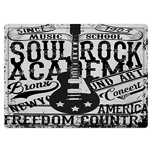 Alfombra de baño Antideslizante 50X80cm,Retro, Soul Rock Academy Theme Music School Guitarra...