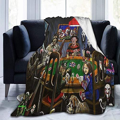 wenhe Funny Horror Slashers Freddy Ja-Son Movies Manta de forro polar acogedora hecha de franela de felpa, manta para el hogar, cama, sofá, resistente a las arrugas, manta suave para adolescentes