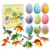 Dino Egg Bath Bomb Gift Set with Dinosaur Inside, 9 Pack Organic Bath Bombs with Surprise Toy Inside, Handmade Fizzy Balls for Kids