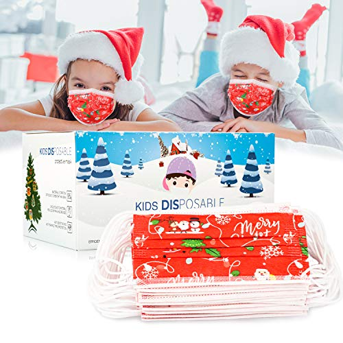 Kids Christmas Face Mask, Funny Cute Kids Disposable Face Mask Christmas Designer Masks Holiday Face Masks With Nose Wire Red Childrens Mask Winter Face Mask Boys Girls Paper Masks (50pcs Red)