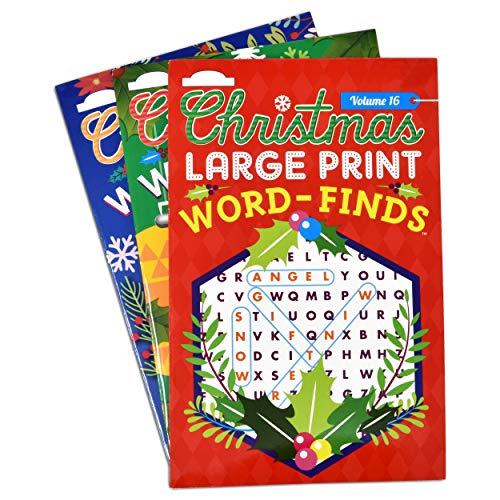 Christmas Word Search Puzzle Book 3 Pack Holiday Word Find Puzzles Books for Adults and Kids Paperback Fun Activity Pads Brain Games Stocking Stuffers and Classroom Reward Party Favors Large Print