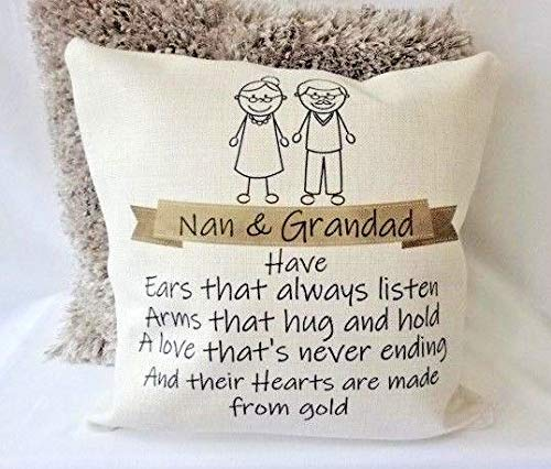 Yohoba Personalised Cushion Nan & Grandad Heart Of Gold Gift Nanny Grandma Gran Cotton Linen Home Decorative Throw Pillowcases Covers Sofa Couch Square 18' X 18'