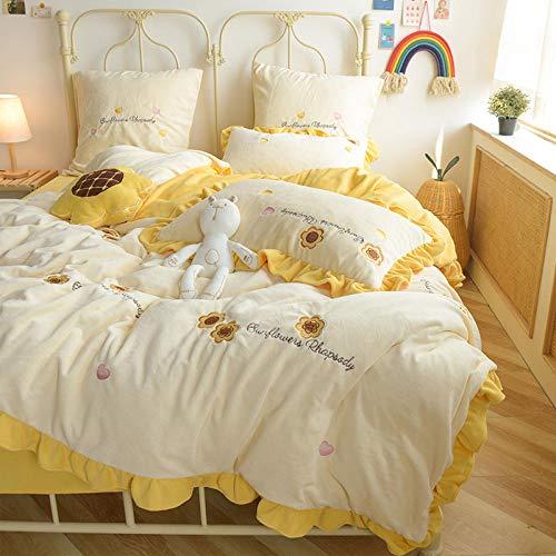 Shinon teddy fleece duvet set blue,Winter sweet sunflower ruffled quilt cover sheet pillowcase girl heart thickening plus down bedding kit-A_1.8m bed (4 pieces)