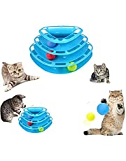 Cat Darling Toys Little Pet Toys Interactive Three Levers Tower of Tracks Pet Crazy Ball Disk Toy (Blue-Triangle)