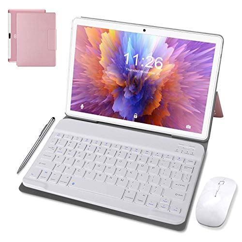 Tablet 10 Pollici Android 10.0 Pie 64 GB ROM 4 GB RAM Tablets PC con Doppia SIM | 8000mAh | WiFi | GPS | Bluetooth | Type-C | Doppia Fotocamera (8MP+5MP) con Tastiera Bluetooth e Mouse