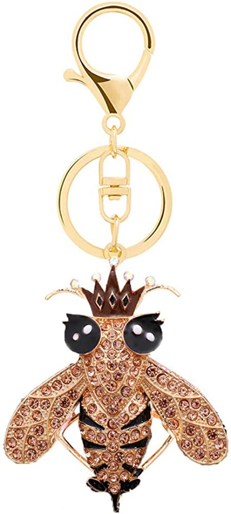 Cute Bee Rhinestone Keychain,Gold Sparkling Charm Keyring Pendant