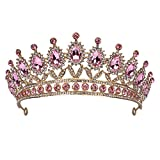 Baroque Crystal Princess Crowns for Women, Pink Rhinestone Birthday Tiaras for Girls Queen Crown Hair Accessories for Wedding Performance Prom Party