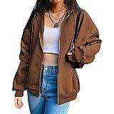 MFFACAI Chaqueta con Capucha de Gran Tamaño con Cremallera para Mujer Y2K Sudadera Gráfica con Letras Diamantes de Imitación Vintage E-Girl 90s Hoodies Streetwear (Color : Brown, Size : XXL)