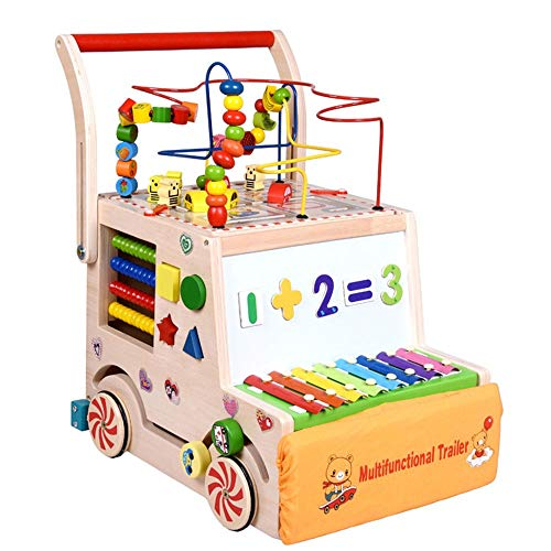Find Bargain Baby First Steps Activity Walker Children's Wooden Walker Multi-Function Baby Blocks Pu...