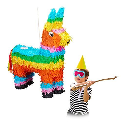 Relaxdays Pinata Lama, zum Aufhängen, für Kinder, Mädchen & Jungs, Geburtstag, zum selbst Befüllen, Esel Piñata, bunt