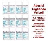 EUREX Etichette TAGLIANDO Auto/Cambio Olio in PVC - N. 5 Fogli A4 con 12 Etichette ciascuno - N. 60 Etichette