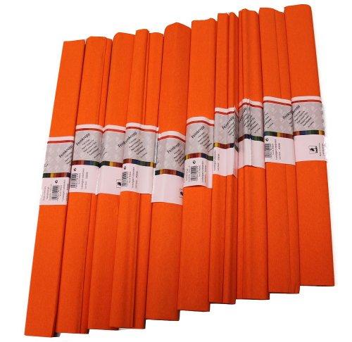 Crêpe papier 50 x 250 cm, verschillende kleuren (oranje), 1 stuks (10 rol)