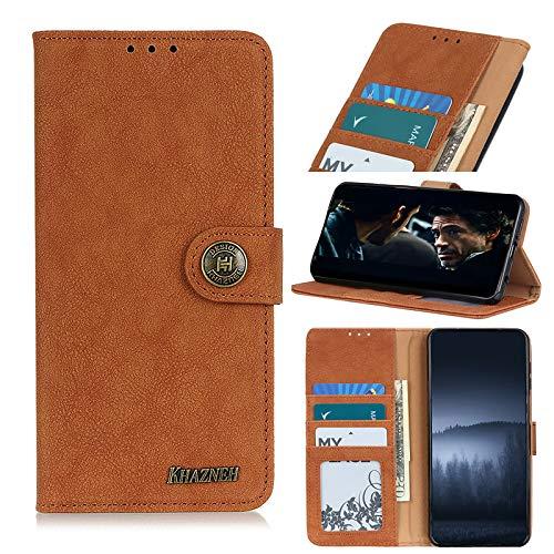 TOPOFU Funda para Xiaomi Redmi Note 10S,Funda Libro Cuero Carcasa con [Cierre Magnético] [Ranuras para Tarjetas],Estilo Retro Minimalista,Premium Flip Folio Cover Case-Marrón
