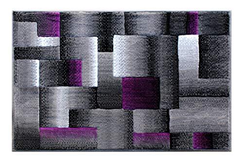 Masada Rugs, Modern Contemporary Area Rug, Purple Grey Black (2 Feet X 3 Feet) Mat