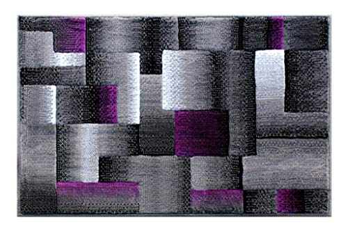 Masada Rugs, Modern Contemporary Area Rug, Purple Grey Black (2 Feet X 3 Feet) Mat