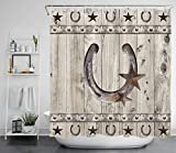 Western Texas Star Shower Curtain, Rustic Farm Star on Country Grey Wooden Plank Bath Curtains, Farmhouse Style Waterproof Polyester Bath Curtain with 12 Hooks, 69x70 Inches