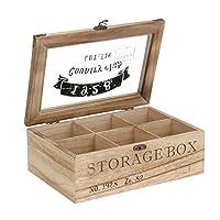 ToCi Boîte à thé en bois rectangulaire (6compartiments) ou carrée (9 compartiments) Style rétro