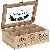 ToCi–Caja para té de madera en estilo rústico con 6o 9compartimentos Modell 1