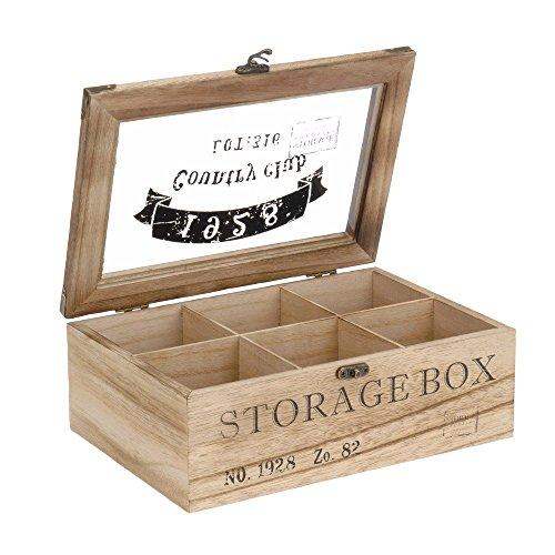 ToCi–Caja para te de madera en estilo rustico con 6o 9compartimentos Modell 1