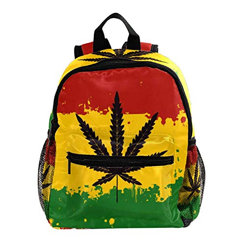 TIZORAX Hemp Leaf Lightweight Travel School Backpack for Boys Girls Kids