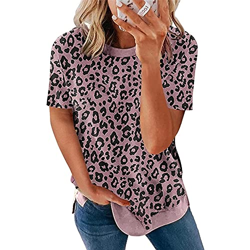 Camiseta Mujer Sexy Estampado De Leopardo Cuello Redondo Manga Corta Suelta Cómoda Moda Casual Tela Elástica Transpirable Verano Mujeres Tops Mujer Camisa D-Pink 4XL