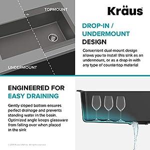 Kraus KGD-54GREY Forteza Granite Kithen Sink, 33 Inch, Grey