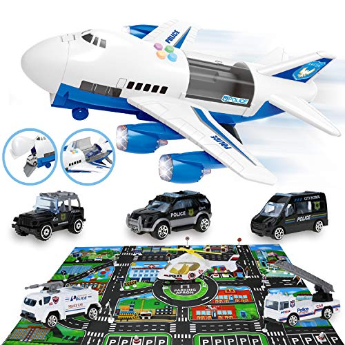 Qwifyu Toy Cars Set, Friction Power Airplane Toys in Carrier Airplane, with Lights, Sound Effect, 6 Police Cars, 28 Road Signs & Traffic Game Map, Gifts for Boys Girls Aged 3+