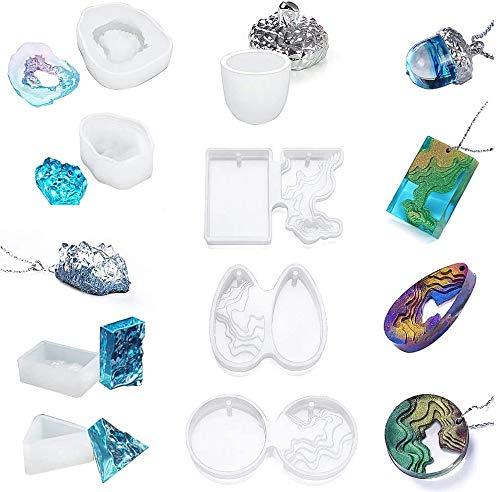 Auveach Moldes de resina de silicona epoxi para fundir la isla ola/cristal/roble...