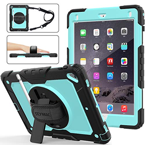 iPad 6th/5th Generation Case, New iPad 9.7 Inch 2018/2017 Case [Full-body] & [Shock Proof] Hybrid Armor Protective Case with 360 Rotating Stand & Strap for iPad 5th/6th/ Air 2/ Pro 9.7 (Skyblue+Black)