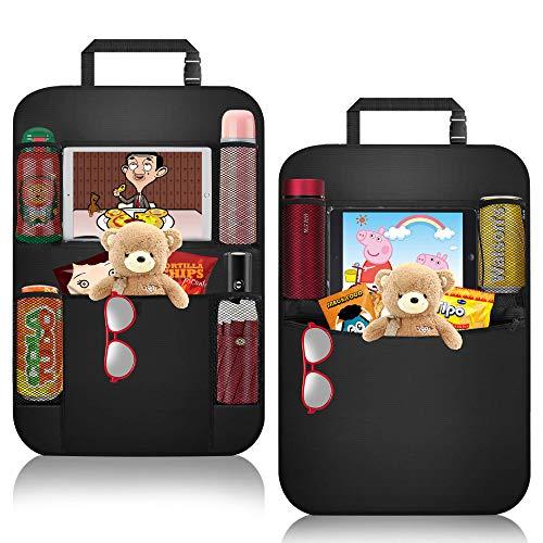 Organizadores Asientos Coche, ASANMU 2 Pack Organizadores para Coche Kick Mats de Coche Universal Protector Trasero del Asiento de Coche para Niños Infantil con Soporte de iPad Botella Bebida Juguetes