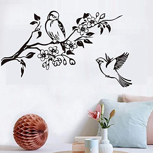 tzxdbh Vogels vliegen op takken DIY wandsticker voor woonkamer wanddecoratie afneembaar vinyl muurkunst stickers decoratie59 x 34 cm