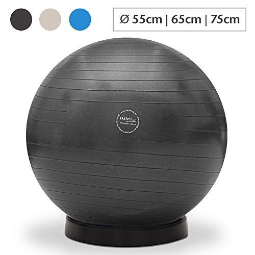 maxVitalis Gymnastikball inkl. Ballschale Fitnessball Sitzball Fitness Ball Yogaball Sportball Anti-Burst Gymnastikball Büroball 65 cm Schwarz