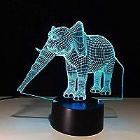 3Dイリュージョンライトエレファントノベルティライト7色変化する雰囲気ランプLED3Dランプビジュアルライトアクリルランプ子供ギフトおもちゃ家の装飾