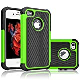 Tekcoo Compatible for iPhone 5S Case/iPhone SE Case/iPhone 5 Case, [Tmajor Series] [Green/Black] Shock Absorbing Hybrid Defender Rugged Cover Skin Shell Hard Plastic Outer & Rubber Silicone Inner