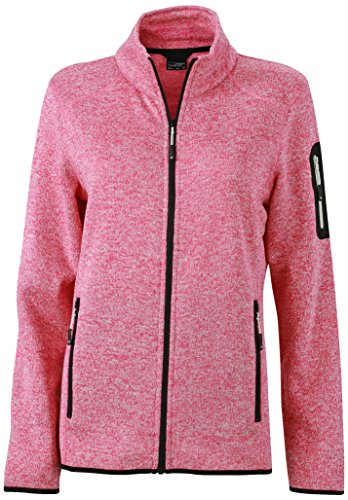 James & Nicholson Damen Jacke Jacke Knitted Fleece Jacket rosa (Pink-Melange/Off-White) XX-Large