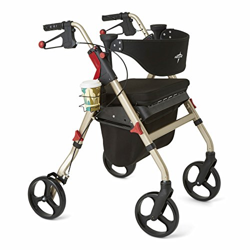 Medline Premium Empower Rollator Walker with Seat, Folding Rolling Walker with 8-inch Wheels, Champagne