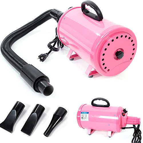 Yoshioe 3.8HP Portable Dog Cat Pet Grooming Blower Hair Dryer 3-Level Wind Adjustable Quick Draw with 3 Nozzles Waterproof IPX4 Pink