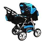 Lux4kids Trío Cochecito 3 in 1 Silla de paseo ruedas fijas + capazo + silla para coche VIP Hecho en Europa Accesorios opcionales iCaddy + Siège auto negro cósmico & agua 3in1+sombrilla