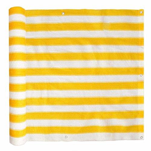 Festnight Markise Balkonschirm HDPE 90 x 600 cm Gelb und Weiß