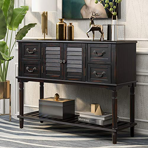 Merax Buffet Sideboard Console Table Sofa Table for Entryway with Shutter Doors and 4 Storage Drawers (Dark Espresso)