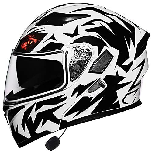 Casco De Moto Bluetooth, Modular Integrado Casco De Motocicleta ECE Homologado Casco De Moto Abatible con Un Micrófono Incorporado para Adultos, Mujeres Y Hombres 4,XXL 62-63