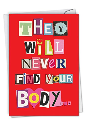 NobleWorks, Never Find Your Body - Romantic Funny Valentine's Day Card - Sexy Couples Valentine with Envelope 2151