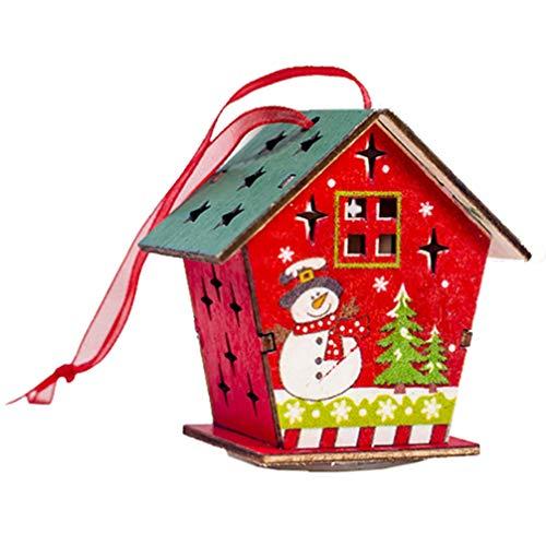 Happyyami Holzhaus Weihnachtsbaum hängen Anhänger leuchtende Weihnachtsdekor für Hausgarten